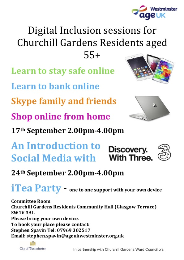 Digital Inclusion sessions for Churchill residents aged 55+