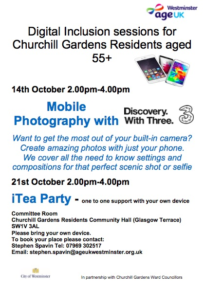 Digital Inclusion Sessions for Churchill Gardens Residents aged 55+